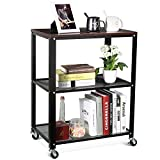 HOMFA 3-Tier Rolling Serving Cart Utility Kitchen Trolley Storage Cart on Wheels Easy Moving Mesh Wire Shelves with Walnut Surface