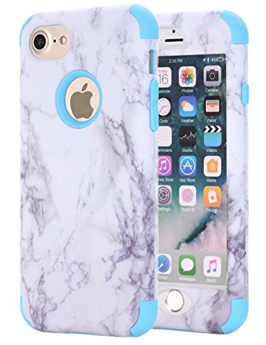 iPhone 7 Case, iPhone 8 Case, SUMOON [Marble Series][Drop Protection] Hybrid Heavy Duty Three Layer Verge Shockproof Full-Body Protective Armor Defender Case iPhone 7/ iPhone 8 (Blue)