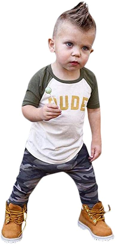 Pants Clothes Sets Toddler Kids Baby Boy Boys Camouflage Outfits T-Shirt