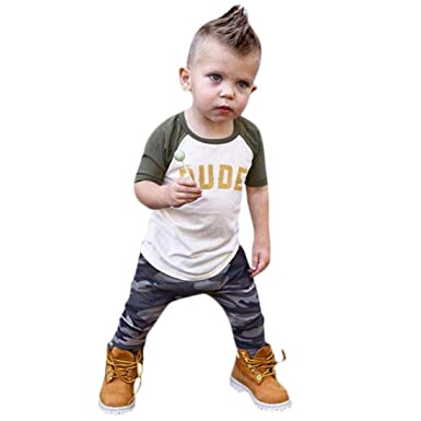 c943f72bfa01f Baby Toddler Boys Kids Clothes Outfit Set Fall Winter New Long Sleeve  Letter Print Tops+ Camouflage