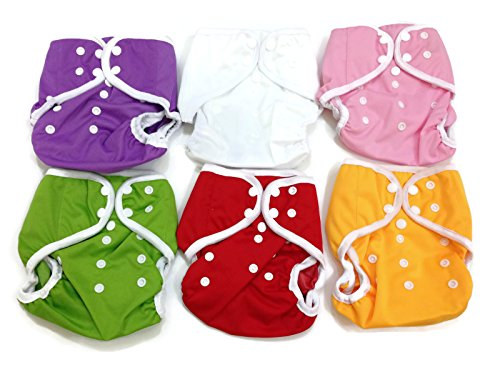 Price comparison product image BB2 6 pcs Baby One Size Solid Leak-free Snaps Cloth Diaper Cover for Prefolds (One Size,  Girls - A (6 Pieces))