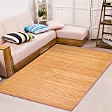 Venice Natural Bamboo 6' X 9' (72'x108') Floor Mat, Bamboo Area Rug Indoor Carpet, Extra Large and Elegant Color Finish, Non Skid Backing, Floor Runner Mat for Living Room, Hallway, Kitchen, Office