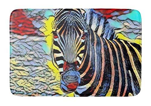 - Lovestand-Doormat Welcome Mat Indoor/Outdoor Bath Floor Rug Decor Art Print with Non Slip Backing 18X30 inch Color Kick Zebra Bathroom mat