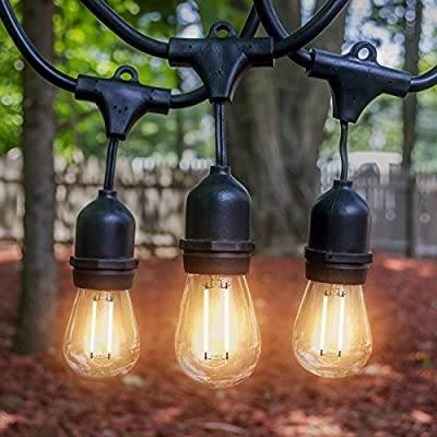 LED Outdoor & Indoor Edison Style String Lights – 48ft Long String Light - with 15 Energy-Saving LED Light Bulbs - 50k hour LED bulb life-span, Commercial Grade Heavy Duty Weatherproof LED Lighting