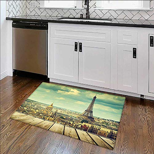 Artistic Rugs Decor Collection Paris Cityscape with Eiffel Tower View from A Wooden Deck Table Bath Mat Non Slip ()