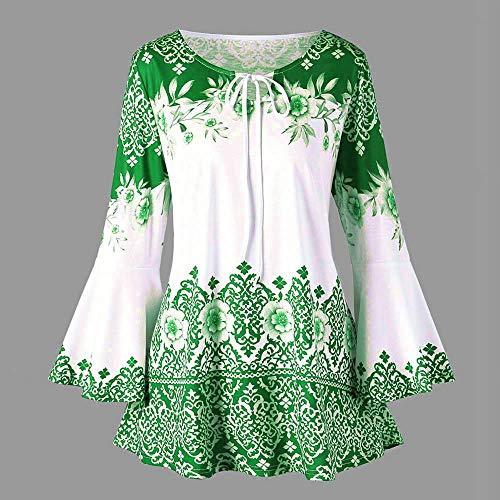 Sumtter A Camicetta Camicia Maglia Blusa Chiffon Verde Forti Lunghe Scollo Maniche Elegante Donna B V Taglie IqR7wIr