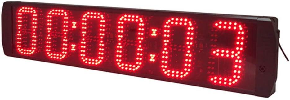 スポーツタイマー 6インチ大型LEDデジタルインターバルタイマーカウントトレーニングタイマージムストップウォッチLEDウォールクロック バスケ 卓球 テニス サッカー 競技 試合用 (色 : ブラック, サイズ : 98X19X4.5CM) ブラック 98X19X4.5CM