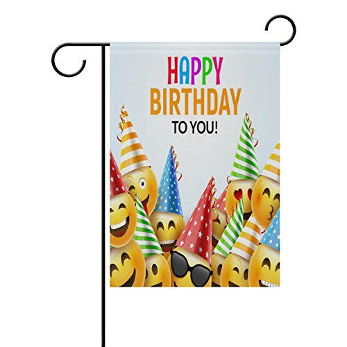 ALAZA Happy Birthday Funny Emoji Polyester Garden Flag House Banner 12 x 18 inch, Two Sided Welcome Yard Decoration Flag for Wedding Party Home Decor