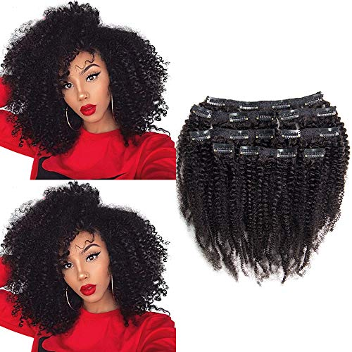 8A Unprocessed Double Weft 100% Remy Virgin Human Hair 4B 4C Afro Kinky Curly Clip in Hair Extensions 8