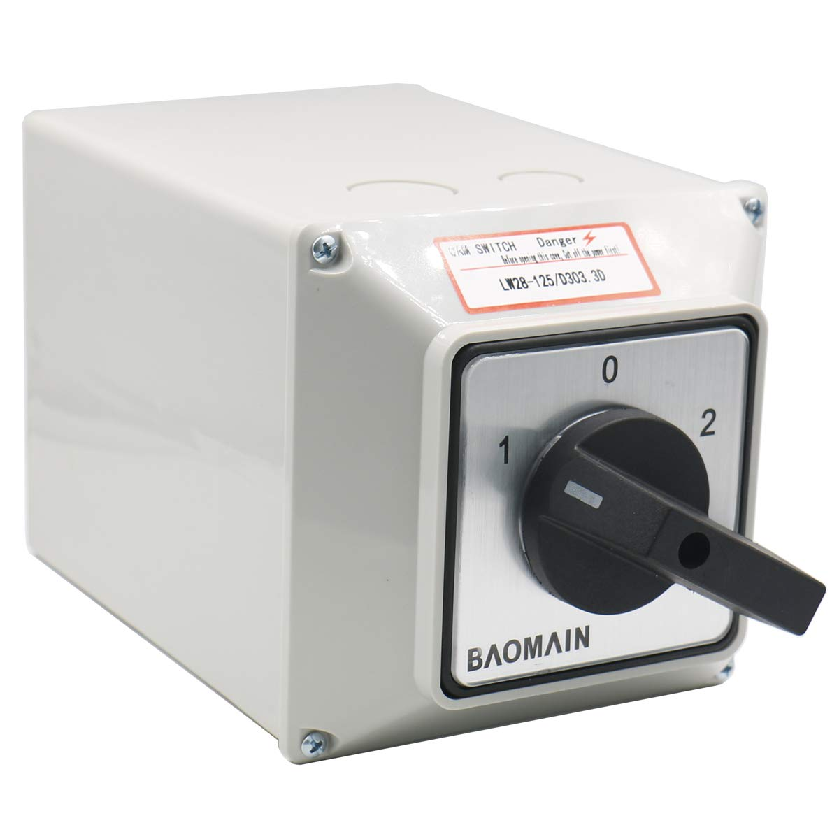 Baomain Universal Rotary Changeover Switch LW28-125/D303.3 with Master Switch Exterior Box LW28-125/4 660V 125A 3 Position 3 Phase by Baomain