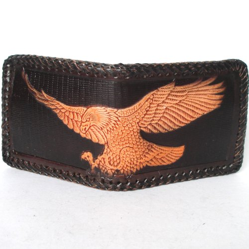 - EAGLE FLY Biker / Trucker Cowhide Leather Bifold Men's Wallet with Stitch Edge /Brown from Thailand
