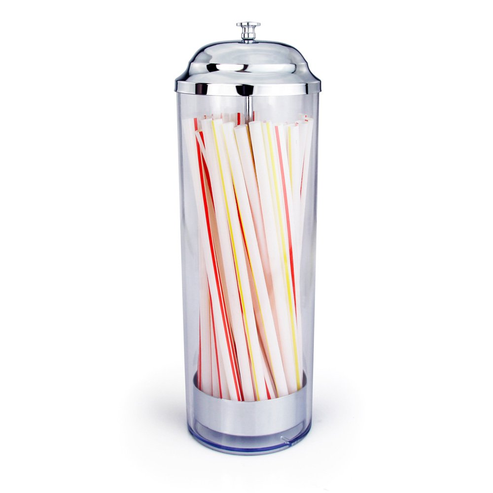 New Star Foodservice 26641 Stainless Steel Straw Dispenser Holder, 3.5 by 10.6-Inch, Clear