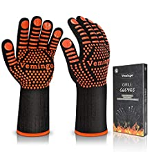 BBQ Gloves 1472°F Extreme Heat Resistant Ov Grill Gloves Heat Proof/Fireproof Gloves Oven Mitts Barbecue Gloves for Smoker/Grilling/Cooking/Baking 12.5CM Large,Orange