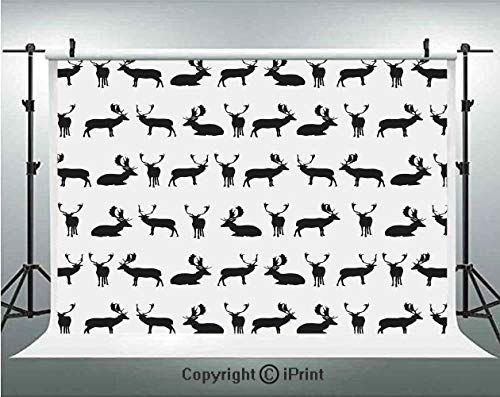 (Deer Photography Backdrops Fallow Deer Seating Standing Walking Poses Shadow Silhouette Pattern Hunting Art,Birthday Party Background Customized Microfiber Photo Studio Props,5x3ft,Black White)