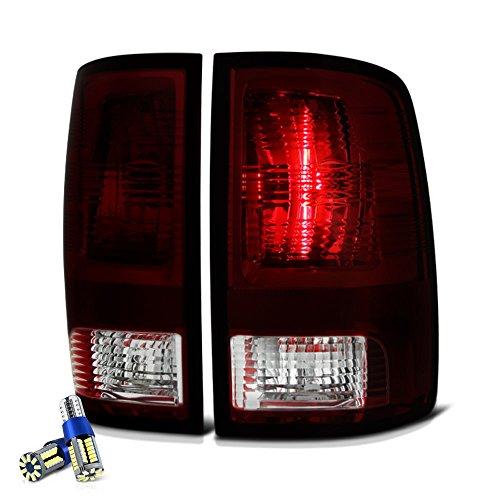 VIPMOTOZ Factory Style Tail Light Lamp For 2009-2018 Dodge RAM 1500 2500 3500 - [Factory Incandescent Model] - Full SMD LED Reverse Bulbs, Smoke Red Lens, Driver & Passenger Side