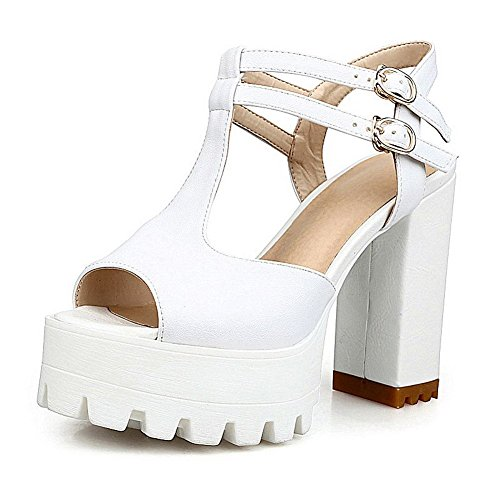 AllhqFashion Women's Peep Toe High Heels Soft Material Solid Buckle Sandals White dTruw
