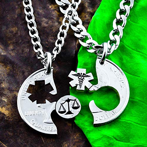Scales of Justice and Medical Symbol Necklaces, Law Student or Med Student Gift, BFF or Couples Medical and Lawyer Jewelry, Hand cut coin, By Namecoins