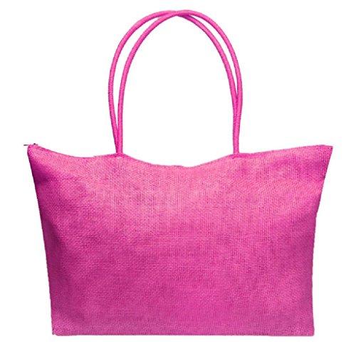 QUICKLYLY Bolsa Playa de Lona Mujer Grande Bolso de Mano Shopper Bolsa con Cremallera Paja Bolsa de Hombro Rosa Caliente