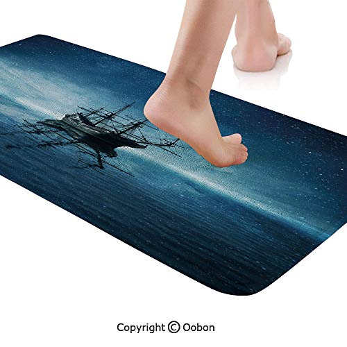 (Pirate Ship Rug Runner,Ship on Dark Blue Sea with Starry Night Sky Water Reflection,Plush Door Carpet Floor Kitchen Decor Mat with Non Slip Backing,48 X 17.7 Inches,Dark Blue Light Blue Black )