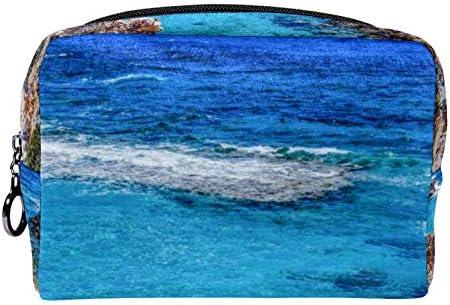 Makeup toilettas voor vrouwen portemonnee cosmetische reiskit organizerMooie blauwe zee
