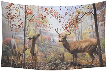 INTERESTPRINT Autumn Landscape with Maple Leaves Wall Art Home Decor, Deer Reindeer in The Forest Tapestry Wall Hanging Art Sets 60 X 40 Inches