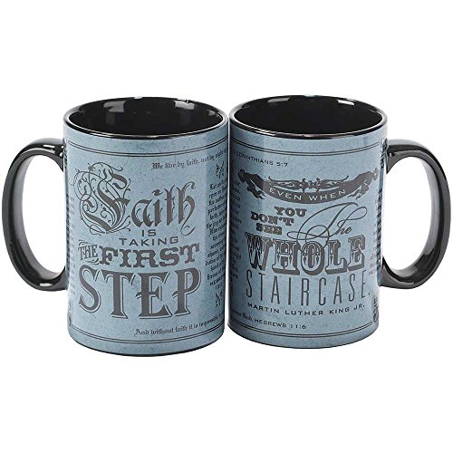 Faith is Taking the First Step Blue Vintage 16 Ounce Stoneware Coffee Mugs Set of 2 by Dicksons