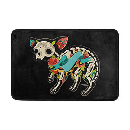 ZOEO Home Decor Non-slip Cute Skull Chihuahua Dog Doormat Floor Door Mat Indoor Outerdoor Bathroom 23.6 x 15.7 (Cute Halloween Home Decor)