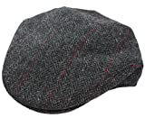 Trinity Cap 100% Wool Charcoal Herringbone Irish Made Mucros XL