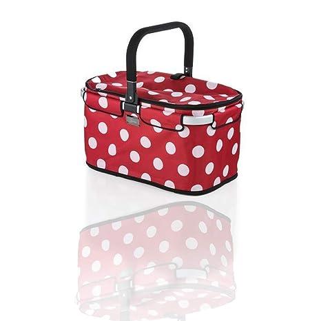 Einkaufstasche rot zusammenklappbar Einkaufskorb Picknickkorb faltbar