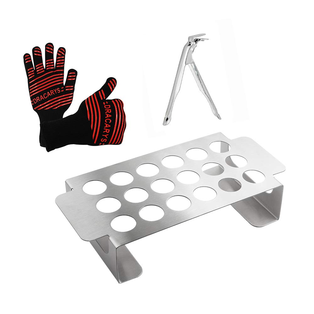 QQMaster Jalapeno Grill Rack Stainless Steel Mini Bell Pepper Popper Rack,Also For Cooking Chili Or Chicken Legs & Wings Roasting On BBQ Smoker Or Oven,Includes Grill Gripper And Heat Resistant Gloves