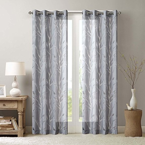 UNKN 1pc 95 Grey Color Sheer Bird Window Curtain Single Panel, Polyester, Grey Color Bird Pattern Natural Feel Animal Sing Tweet Whistle Garden Theme Vibrant Stylish Grommet Top Drapes