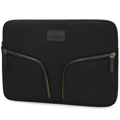 LONMEN 13-13.3 Inch Protective Laptop Sleeve Case Waterproof Cover for Apple MacBook Pro 13.3-inch Retina/13 MacBook Air/HP Spectre X360/Dell XPS 13 Notebook Chromebook Bag with 2 Pocket,Black