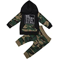 Infant Toddler Baby Camo Hoodie Set Boy Fall Camouflage Pullover Hoodies Sweatshirt Long Pants Outfit Clothes