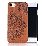 """Sunroyal Unique Stylish Luxury Real Handmade Natural Wood Wooden Hard Bamboo with PC (Poly Carbonate) Shockproof Scratch Resistant Case For iPhone 7 4.7"""" Dark Brown Sculpture 3D Lotus Pattern"""