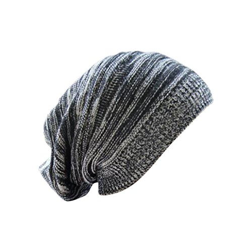 Longra Unisex stricken ausgebeulten Mütze Barett Winter warm überdimensionalen Kappe Strickmützen (Schwarz)