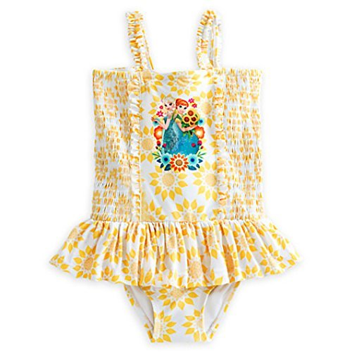 Disney Girls Yellow One Piece Anna and Elsa Swimsuit (7/8)