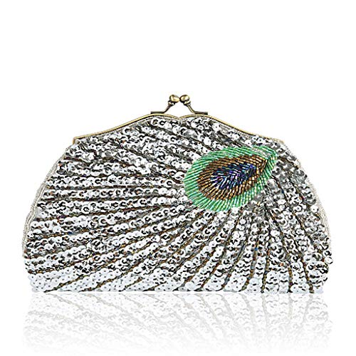 Bridal Wedding Silver Vintage Sequins Shoulder Clutch Peacock Cocktail Bag Party Handbag Wanfor Beads Purse Bag Evening wZ0qn81