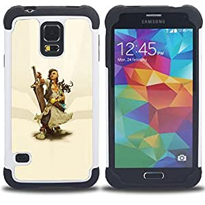 For Samsung Galaxy S5 I9600 G9009 G9008V - Warrior Woman & Sword H???¡¯????brido Protecci???¡¯????n completa dual de alto impacto Capa Funda - Cash Case