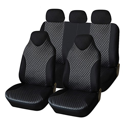 Bucket Seat Headrests (Aully Park Universal Fit Full Set Leatherette Car Bucket Seat Cover, Black, Set of 7)