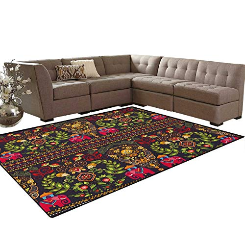 (Eastern,Rug,Traditional Pattern Colorful Paisley Border Floral Details Elephants Tribal Artwork,Perfect for Any Room Floor Carpet,Multicolor Size:5'x6')