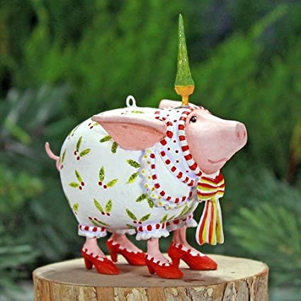 Patience Brewster Mini Nanette Dressed Up Pig Christmas Figural Ornament  08-30957 - Amazon.com: Patience Brewster Mini Nanette Dressed Up Pig Christmas