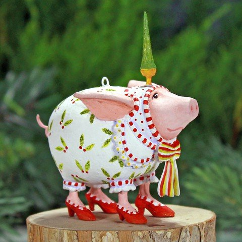 Patience Brewster Mini Nanette Dressed Up Pig Christmas Figural Ornament 08-30957