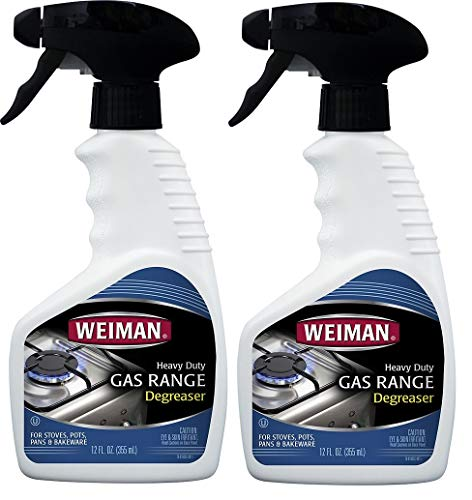 Weiman Gas Range Cook Top Cleaner and Degreaser - 12 Ounce 2 Pack - Removes Burnt On Food, Non-Abrasive, Daily Cooktop Cleaner and Polish