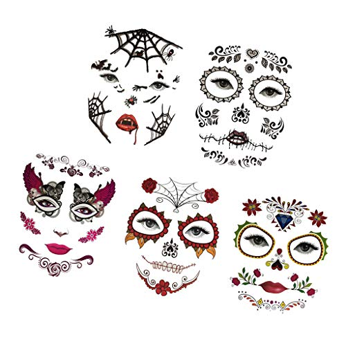 Fenteer 5 Pieces Halloween Day of Dead Floral Spider Temporary Face Tattoo Makeup -