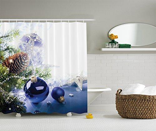Holiday Christmas Ornaments Fabric Shower Curtain Digital Bathroom (Blue Holiday Ornaments)