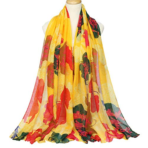 ROBAG Silk Women Scarf, Fashion Scarves, Balinese Yarn Shawl Accessories Lily Large Flowers Print Gradient Neckerchief Spring, Summer, Autumn and Winter 4 Pack Yellow 180x90cm (Balinese Hat)