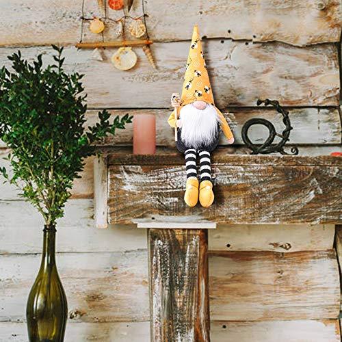 Risaho Handgefertigte Plüschpuppenverzierungen Gesichtsloser Alter Mann Biene Zwerg Elfenpuppe Ostern Tischplatte Gnom Ornamente Geschenke Für Home Holiday Dekoration (A)