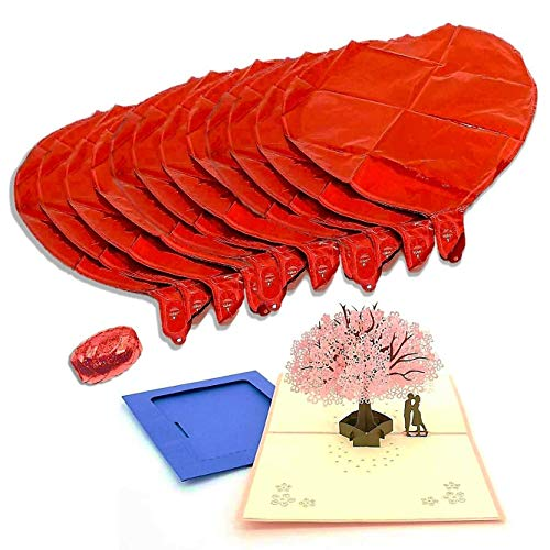 Valentines' Day Gift Set –12-Pack Heart-Shaped Balloons with 3D Love Card – Includes Red Ribbon Roll – Premium Quality Decorations for Him & Her – Ideal for Anniversary, Party, -