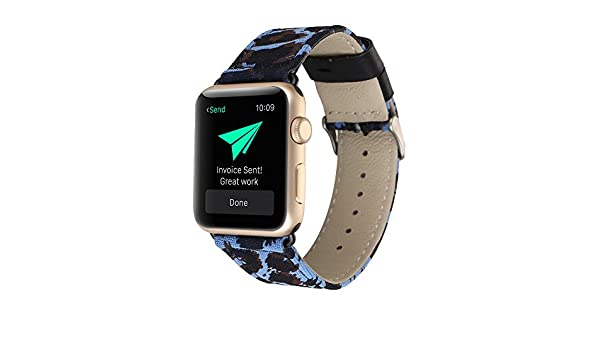 Amazon.com: Marrivoe Luxury Leather Canvas Watch Band Wrist Strap for Apple Watch 38mm: Watches