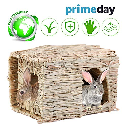 - aingycy Natural Hand-Made Grass Hut Non-Toxic Bunny House Bird Cubby Nest Cage for Rabbit, Guinea Pig, Gerbils, Hamster and Other Small Animals (Grass-1)